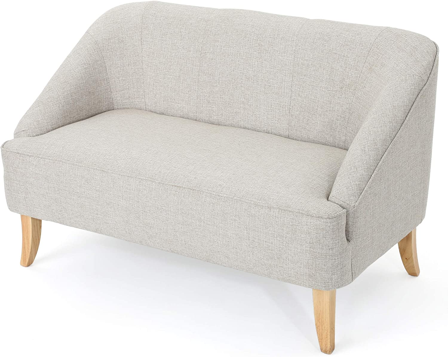 gray and wood love seat