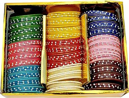 NMII Multicolour Glass Bangles Studded with Zircon for Women & Girls