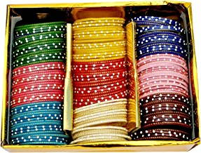 NMII Multicolour Glass Bangles Studded with Zircon for Women & Girls