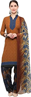 Rajnandini Brown Crepe Salwar Suit For Women (Ready To Wear)(One Size)