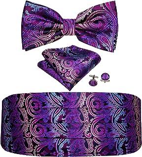 Barry.Wang Cummerbund Bow Tie Set for Men, Silk Cummerbund Pretied Bow Tie Pocket Square Cufflinks