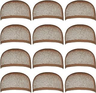 Blisstime Pack of 12 Wig Cap Open End Brown Mesh Net Liner Weaving Cap