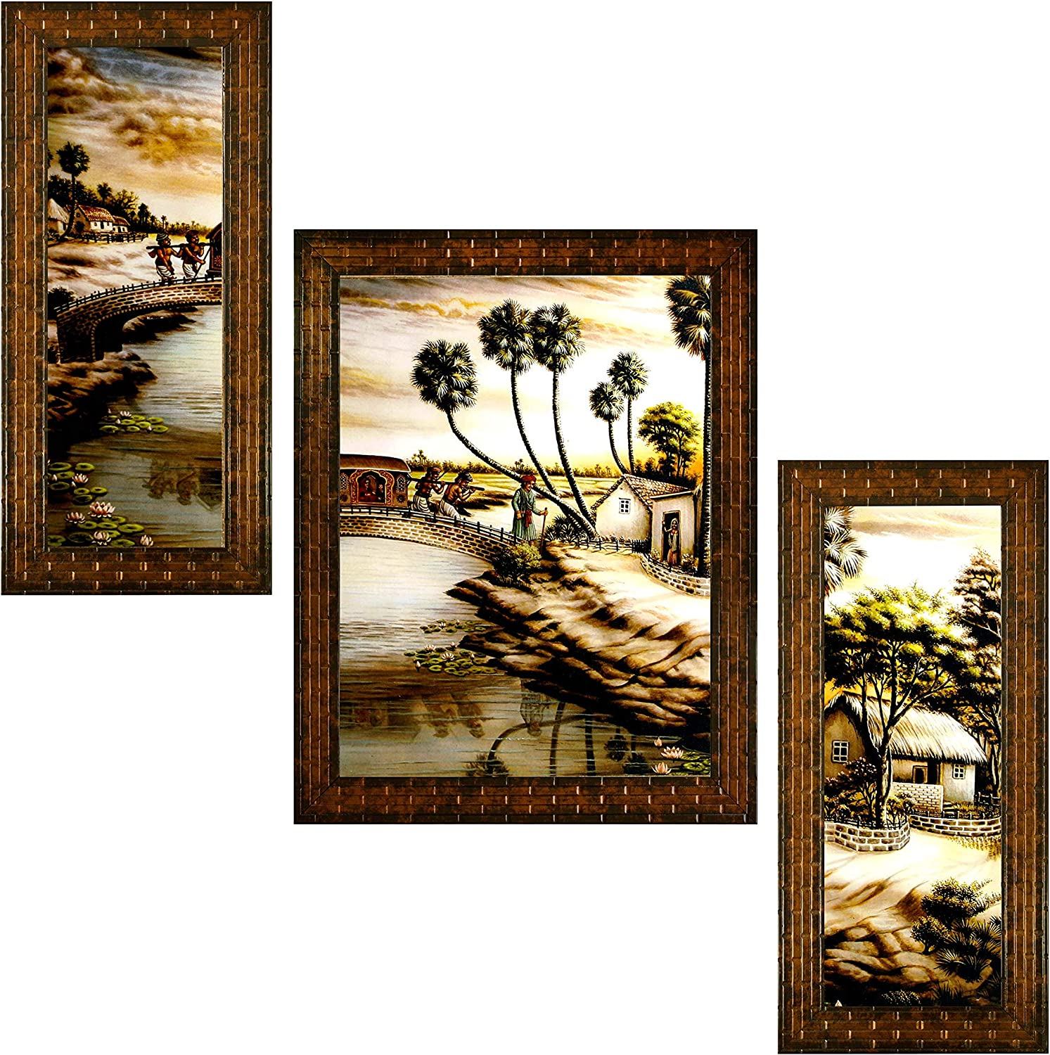 Indianara Sale special Limited time trial price price Set of 3 Village Paintings 6 13 X Without Glass 2561