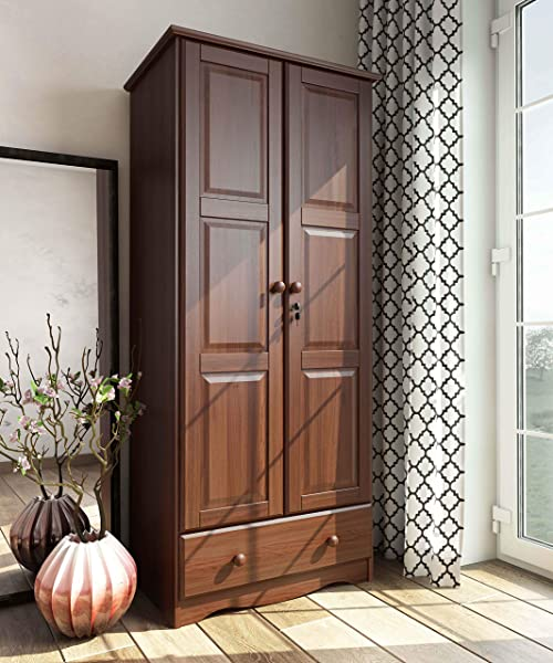 100 Solid Wood Flexible Wardrobe Armoire Closet By Palace Imports Mocha Color 32 W X 72 H X 21 D 1 Shelf 1 Clothing Rod 1 Drawer 1 Lock Included Additional Shelves Sold Separately