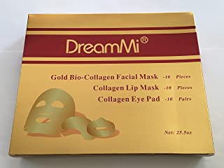 DreamMi (10 + 10 + 10 Comes in a Box) 10 Pieces Gold Bio-Collagen Face Facial Mask + 10 Pieces Gold Lip Mask + 10 Pairs Gold Eye Pad, Anti Wrinkle/Aging, Deep Moisture, By DreamMi