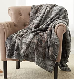 "Pinzon Faux Fur Throw, Polyester, Frost Grey, 63"" x 87"""