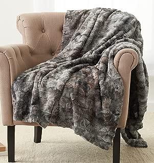 Pinzon Faux Fur Throw Blanket - 63 x 87 Inch, Frost Grey