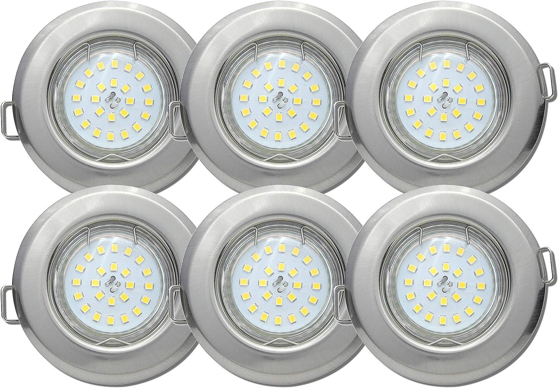 6 Stück SMD Decken Einbaufassung Jerry Starr 12 Volt 5 Watt Farbe Edelstahl geb. Lichtfarbe Neutralwei
