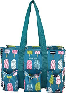 Patterned Utility Bag, Diaper Bag,Grocery Zip top Organizer All Purpose Tote Bag. Elephant, Anchor, Seahorse, Stripe, Whale, Bird, NT19-25-TO (Turquoise) - NT19-25-TO