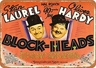 Treasun 12 x 16 Inches Metal Sign - 1938 Laurel and Hardy Blockheads Movie - Vintage Look Wall Decoration