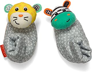 Infantino Foot Rattles, Zebra and Tiger, Zebra/Tiger