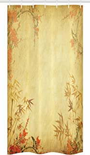 Ambesonne Bamboo Stall Shower Curtain, Bamboo Stems and Blooming Flower Antique Grunge Background Oriental Artwork, Fabric Bathroom Decor Set with Hooks, 36