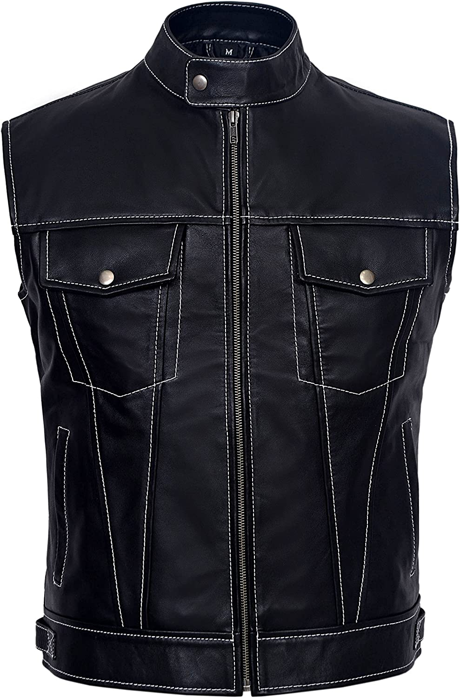 Smart Range New Mens Black Napa Waist Coat White Stitches Real Leather Soft Lambskin Waistcoat 1635