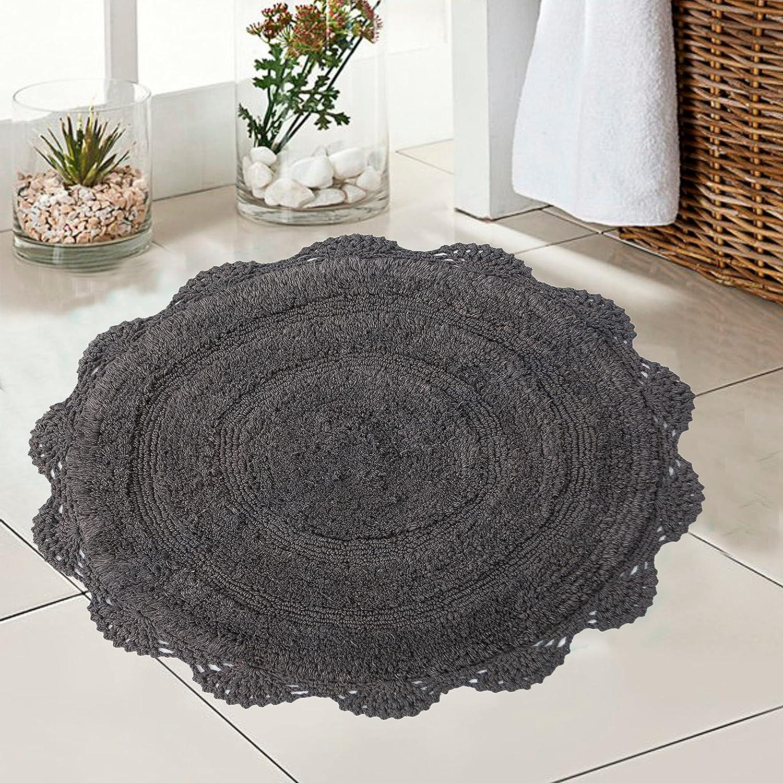 CHARDIN HOME   Crochet Bathroom Rug Griffin Gray   20 Inches Round Boho  Bath Mat   Non Slip Latex Back, Machine Washable Rug