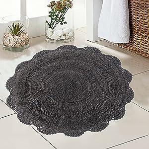 CHARDIN HOME - Crochet Bathroom Rug Griffin Gray   24 Inches Round Boho Bath Mat   Non-Slip Latex Back, Machine Washable Rug