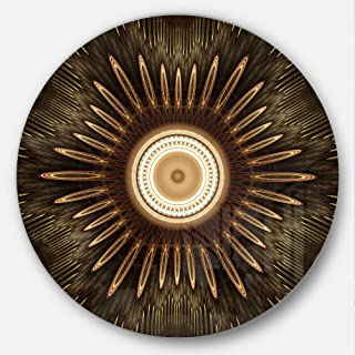 Designart White Brown Rounded Fractal Flower Floral Circle Wall Art- Disc of 23, 23X23-Disc of 23 inch, Black