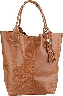 Chicca Borse Handbag Shopper Borsa a Mano da Donna in Vera Pelle Made in Italy 39x36x20 Cm