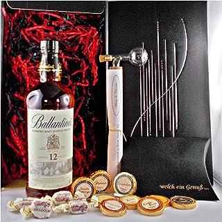 Geschenk Ballantines 12 Jahre Whisky  Glaskugelportionierer  Edelschokolade  Whiskey Fudge