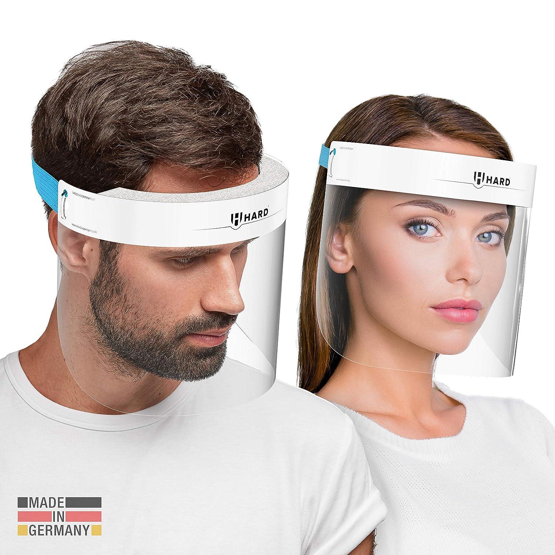 HARD 1x Pro Visera de protección facial, Certificado médico, Protector de plástico Antivaho, Pantalla protectora para adultos, Hecho en Alemania - Blanco/Azul