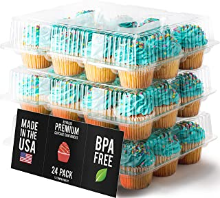 Royalux Cupcake Containers Plastic Disposable [12 Cavity x 24 Pack] - BPA Free Cupcake Boxes 12 - USA Made Cupcake Holder – High Dome Cupcake Container - Cupcake Holders Disposable Cupcake Carrier