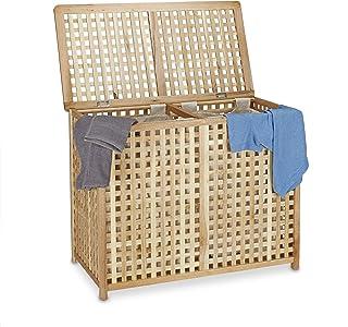 Relaxdays Panier à linge en bois de noyer double corbeille vêtements avec couvercle tri bac HxlxP 46,1 x 87,9 x 68,1 cm 2 ...