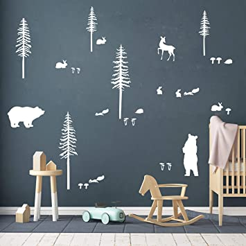 Nursery Decals Woodland Decals Bear And Forrest Trees Wall Sticker Nursery Wall Sticker Nature Wall Decals Scandinavian Kid Decals