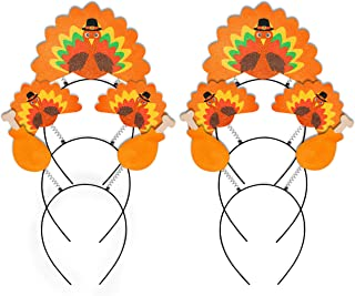 Geefuun 6PCS Thanksgiving Turkey Headband Decorations - Party Head Boppers Accessories Trot Race Costume Decor Favors for Kids Adults