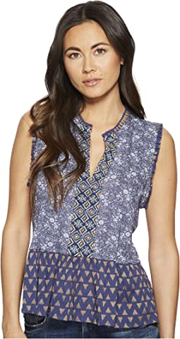 Mix Print Peplum Top
