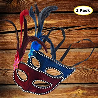 2 Pack Masquerade Party Feather Mask Venetian Halloween Costumes Party Half face Mask(Red+Blue)