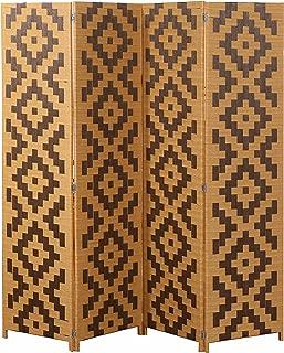 MyGift Woven Rattan 4 Panel Screen, Southwest Folding Room Divider, Beige