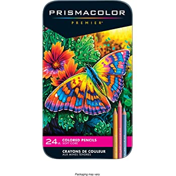 Prismacolor Premier Soft Core Colored Pencils, Assorted Colors, Set of 24 (packaging may vary)