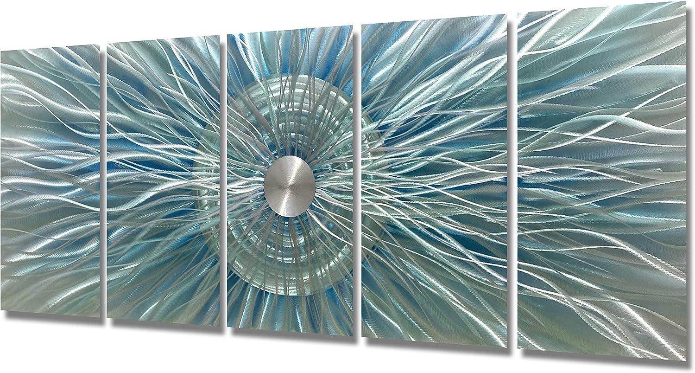 BATRENDY ARTS Blue Green Silver スーパーセール期間限定 Metal Sc Large Abstract Wall Art 超激得SALE
