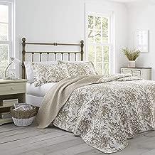 Laura Ashley Bedford Cotton Reversible Quilt Set, Full/Queen, Mocha