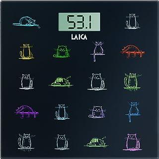 Laica Bilancia PS1061 Pesapersone Elettronica, 180 kg, Vetro Temperato con Serigrafia Gatti