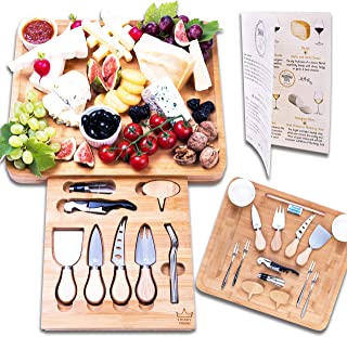 Luxury Dining 16-piece Cheese Charcuterie Board and Knife Cutlery Set - Organic Bamboo Cutting and Serving Tray for Meat, Crackers, Wine with Hidden Unique Drawer, Perfect Housewarming Present Idea
