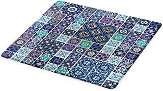 Ambesonne Ethnic Cutting Board, Traditional Mosaic Azulejo Portuguese Cultural Ceramic Tiles Folk Design, Decorative Tempered Glass Cutting and Serving Board, Large Size, Navy Blue