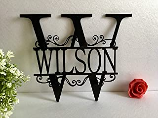 Split Wall Monogram Initial Any Letter Name Wreath Personalized Last Name Family Sign Acrylic Laser Cut Sign Outdoor Metal Custom House Garden Front Door Wedding Gift Hanger Housewarming Hanging Decor