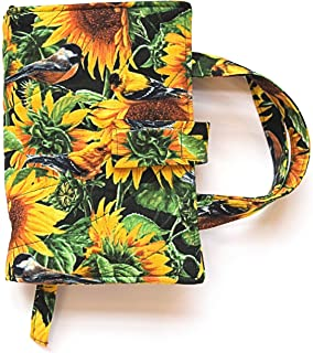 New Vibrant Yellow Sunflowers Print Ladies Wooden Derby Handle Walking Cane