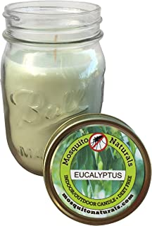 Natural Eucalyptus Mosquito Repellent Candle - no Deet - 88 Hour Burn - Naturally Repels Insects Flies Bugs with Essential Oils, Indoor/Outdoor, Ball Mason Jar, Citronella Soy, Made in USA
