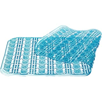 YHLCSQ Soft As Grass Bath Mats Shower and Tub Mat Foot Scrubber Non-Slip Anti-Bacterial Machine Washable PVC Suction Rectangle 25/×14 inch footmat Clear