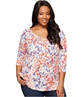 Lucky Brand - Plus Size Printed Pintuck Top