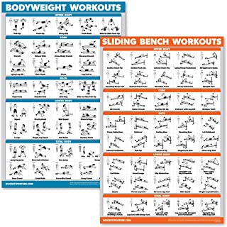 QuickFit 2 Pack - Sliding Bench Workouts & Bodyweight Exercise Poster Set - Set of Two