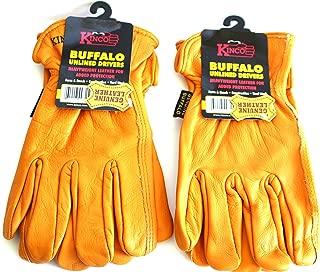 Kinco Buffalo Leather Working Gloves for Men, 2-PACK - Tough & Durable Gloves - Buffalo Skin Lasts Longer - GLOVES for WORK! (Medium)