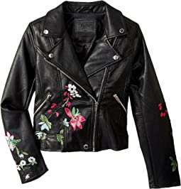 Blank NYC Kids - Embroidered Vegan Leather Moto Jacket in Flower Child (Big Kids)