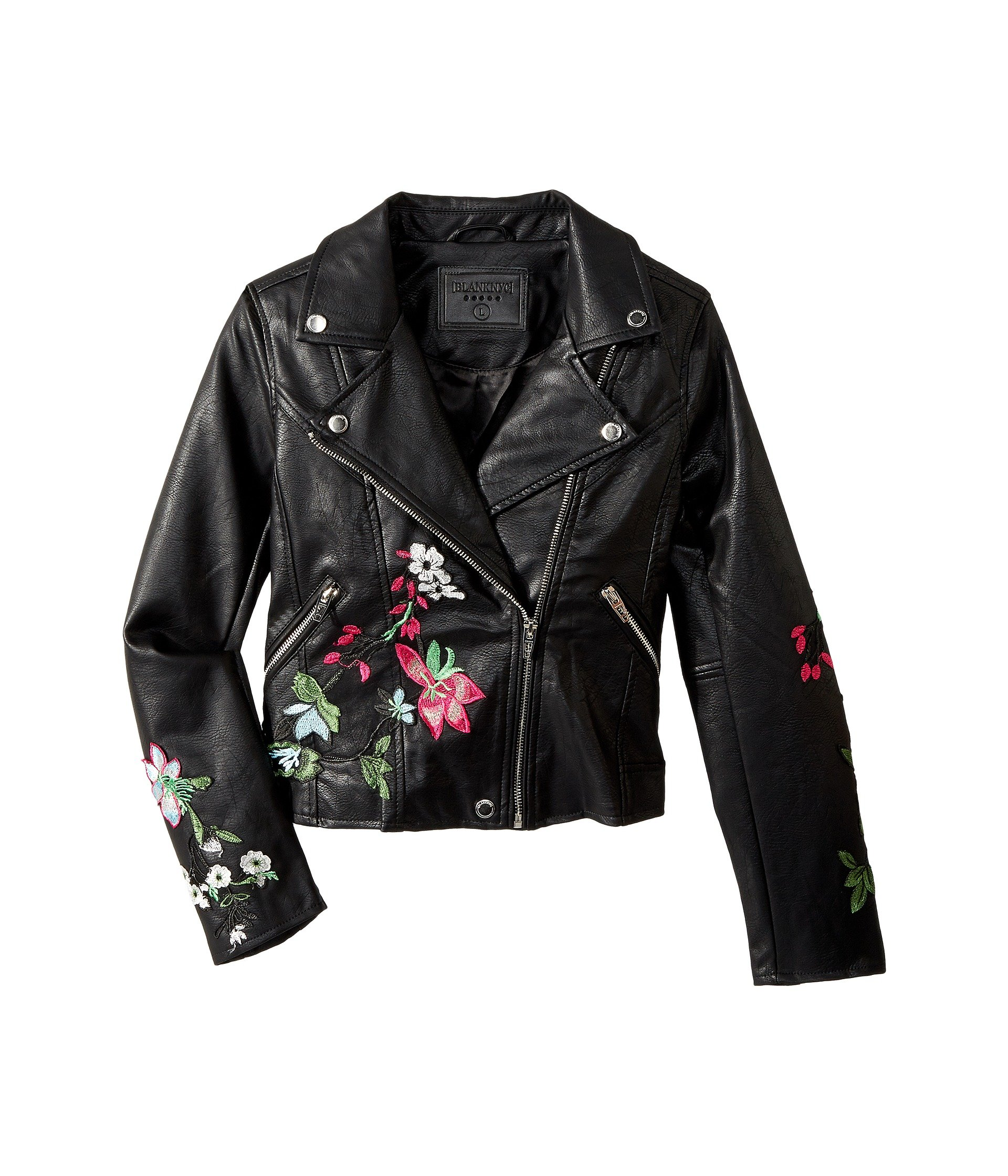 Blank NYC Kids Embroidered Vegan Leather Moto Jacket in Flower Child (Big  Kids)
