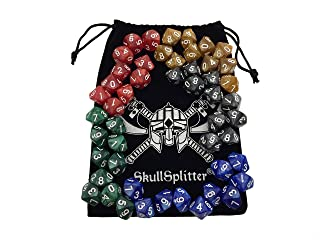 Skull Splitter Dice - D10 DICE Set-5 Sets of 10d10, Perfect for WOD or Math Dice Games - 10 Sided Polyhedral Dice Sets with Bag for Table Top RPG MTG