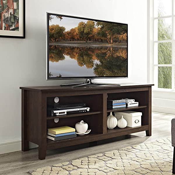 WE Furniture Minimal Farmhouse TV Stand For TV S Up To 64 Traditional Brown