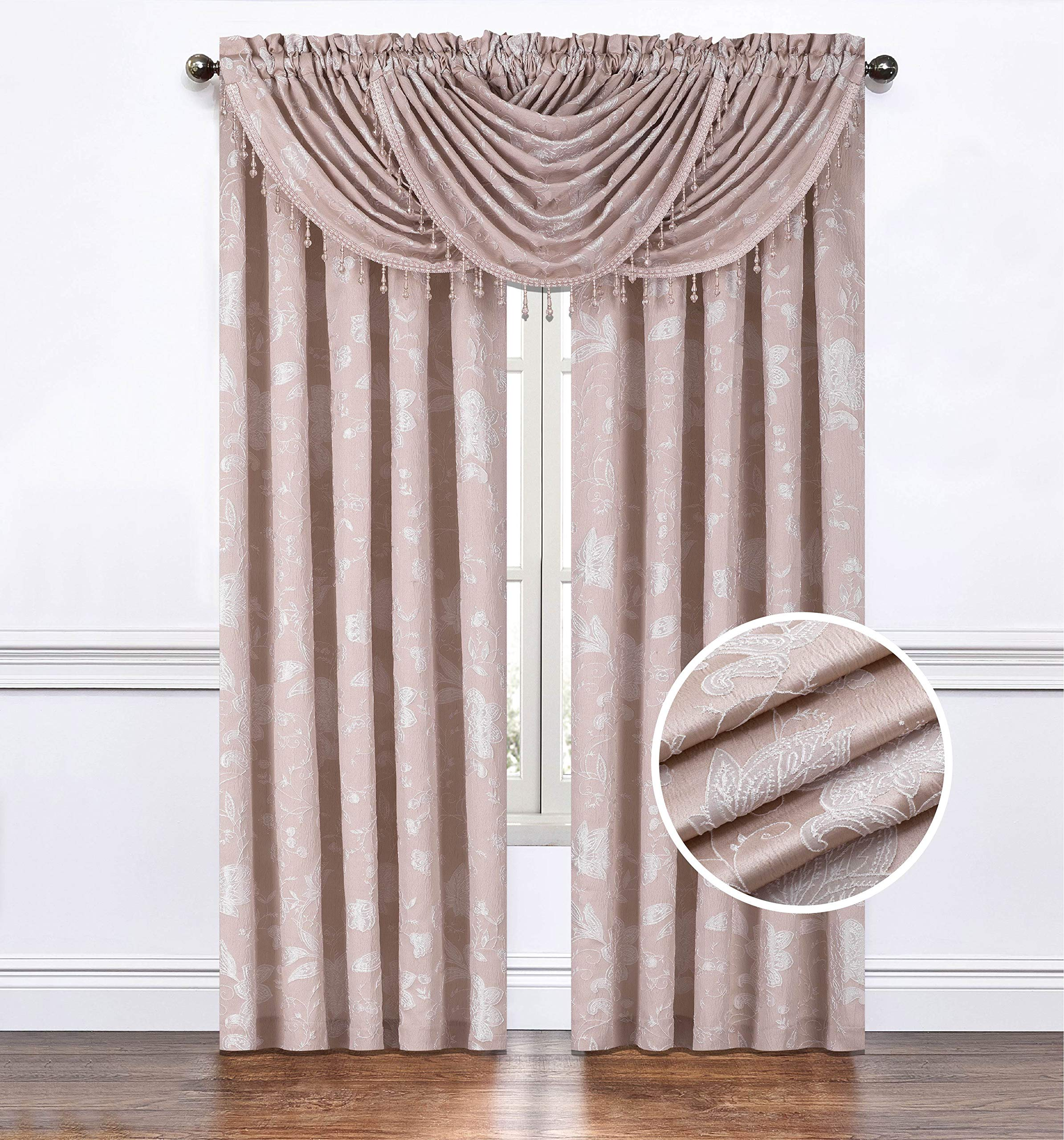 Regal Home Collections Emily Jacquard Rod Pocket 2 Panels or 1 Valance