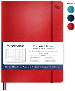 Purpose Planner Undated Monthly Weekly Daily Productivity Journal 2019-2020 Optimized Life, Goal Setting & Business Tool for Academic Student, Professionals, Moms - Leather Day Organizer Notebook