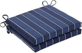 Pillow Perfect Outdoor/Indoor Wickenburg Indigo Squared Corners Seat Cushion 20x20x3 (Set of 2)